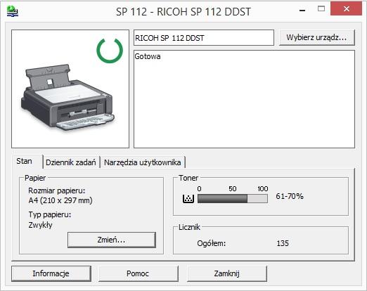 RICOH SP 112 - test  Instalacja, konfiguracja i oprogramowanie
