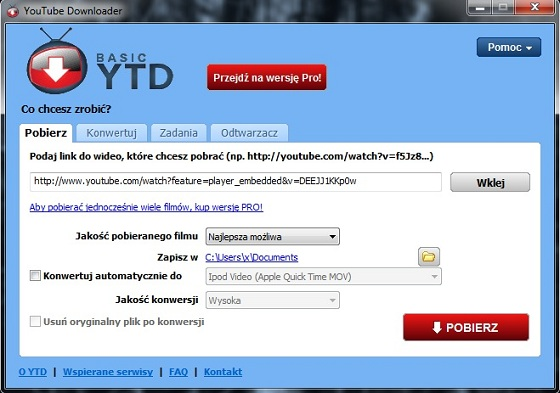 youtube downloader - wklejanie linku