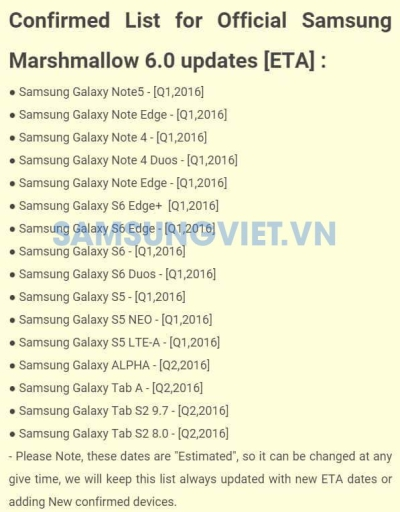 Android 6.0 Samsung lista