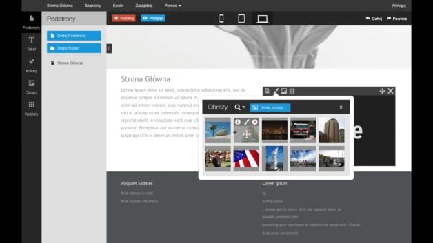 Aplikacja Click Web pozwala na łatwe i szybkie tworzenie stron WWW działających również na urządzeniach mobilnych. [źródło: home.pl]