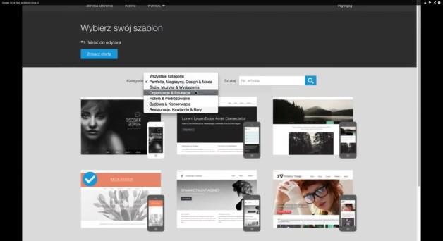 W nowoczesnych kreatorach stron WWW dostępne są zawsze szablony pogrupowane na kategorie ułatwiające stworzenie dobrze wyglądającej, profesjonalnej firmowej strony WWW. Na ilustracji Clic Web firmy home.pl. [źródło: home.pl]