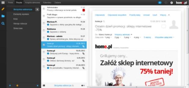 Zaimplementowana w home.pl i bazująca na systemie Open Xchange usługa Cloud Email Xchange, pozwala skorzystać z mechanizmu obiegu i udostępniania dokumentów, który polega m.in. na wymianie kontaktów, zadań oraz danych z kalendarzy pomiędzy użytkownikami skrzynek e-mail. [źródło: home.pl]