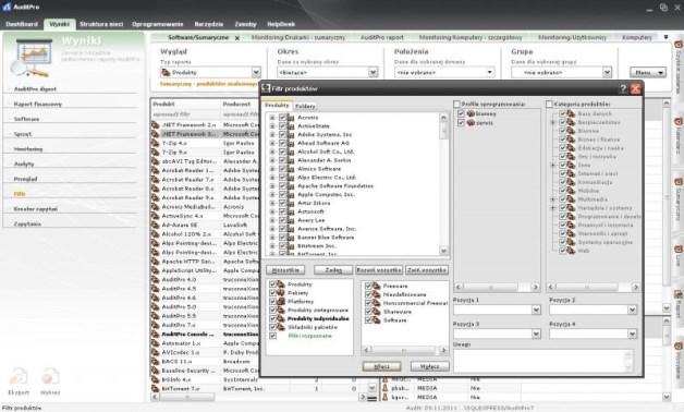 Zarządzanie oprogramowaniem w AuditPro. Filtr produktów umożliwia zawężenie listy wyników. źródło: AuditPro