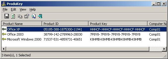 ProduKey pozwala wyciągnąć z rejestru systemu klucz produktów Windows oraz Microsoft Office. źródło: NirSoft