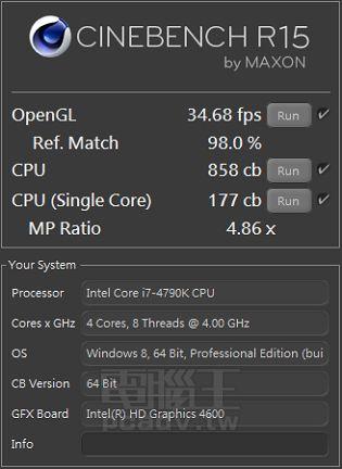 Intel Core i7-4790K - wydajność w Cinebench R15