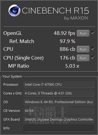 Intel Core i7-6700K - wydajność w Cinebench R15