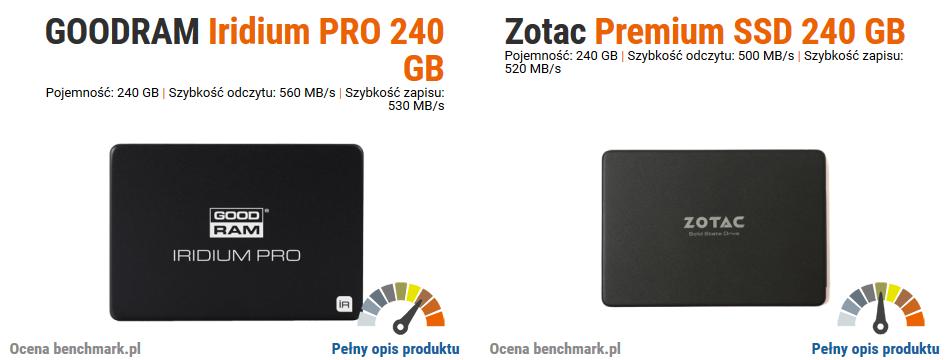 GOODRAM Iridium PRO 240GB vs Zotac Premium SSD 240GB