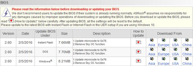 ASRock Z170 Extreme7+ - nowe wersje BIOS bez funkcji Sky OC