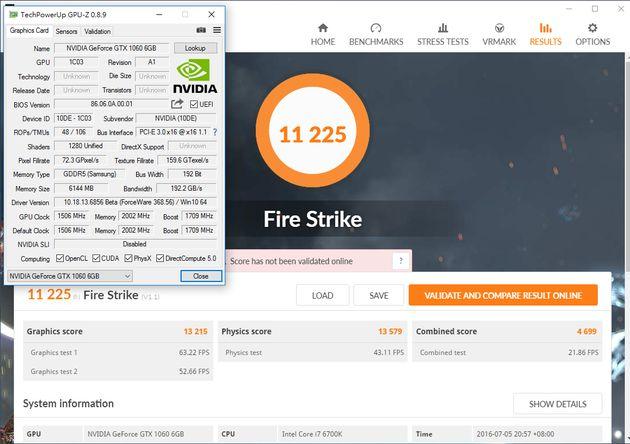 Nvidia GeForce GTX 1060 - wydajność 3DMark Fire Strike