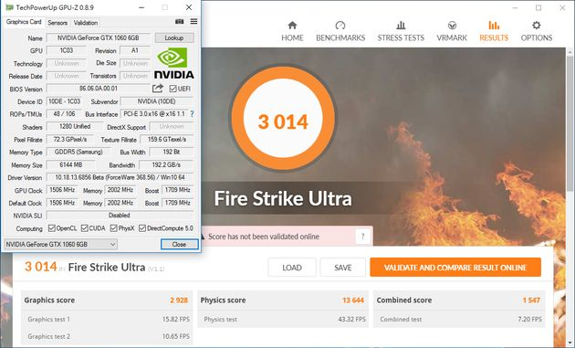 Nvidia GeForce GTX 1060 - wydajność 3DMark Fire Strike Ultra