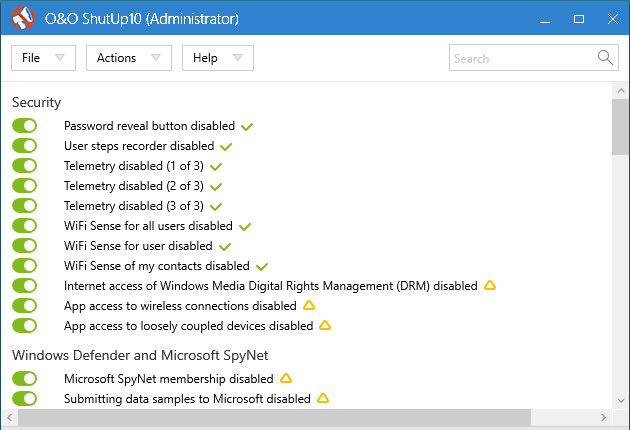 ShutUp10: proste wyłączanie niechcianych funkcji w Windows 10