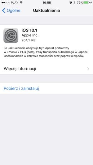 iOS 10.1 udostępniony