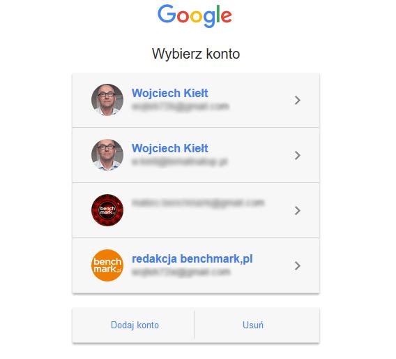 wybieranie konta Google