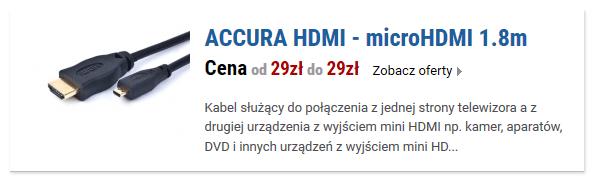 ACCURA HDMI - microHDMI 1.8m