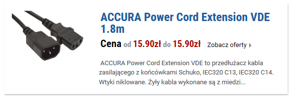 ACCURA Power Cord Extension VDE 1.8m