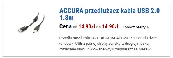 ACCURA przedłużacz kabla USB 2.0 1.8m