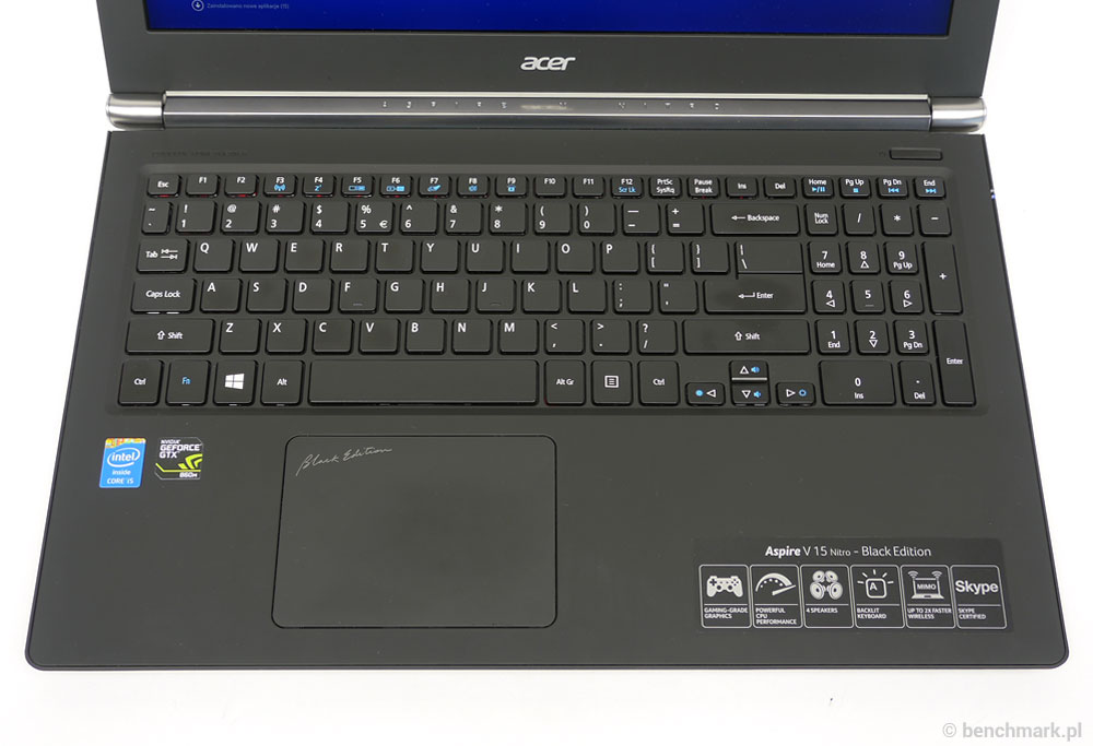 Acer Aspire V 15 Nitro Black Edition panel roboczy