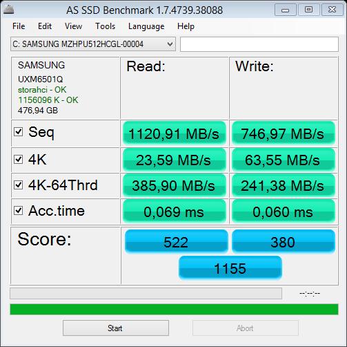 Asus NX500JK test AS SSD