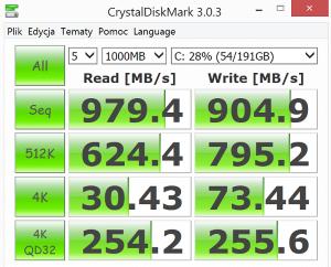 Asus NX500JK test CrystalDiskMark