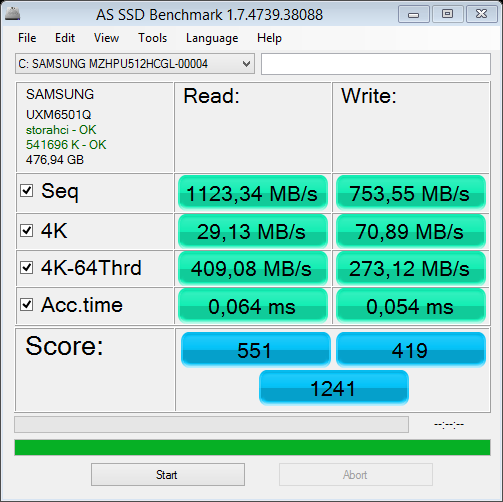 XNOTE P65 test AS SSD
