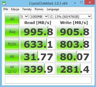 XNOTE P65 test CrystalDiskMark