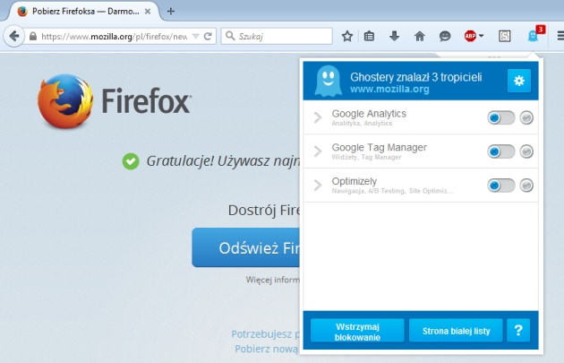 Ghostery - screen