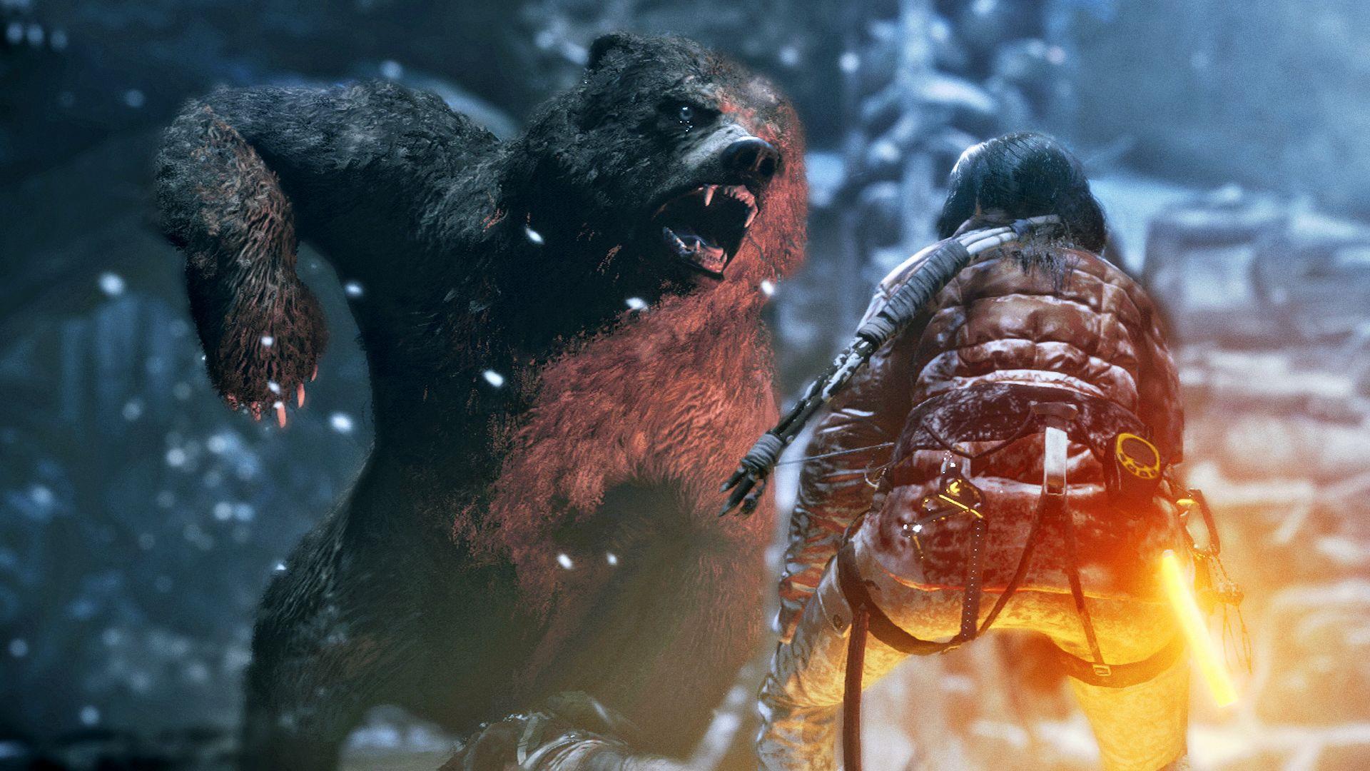 Rise of the Tomb Raider - walka z niedźwiedziem