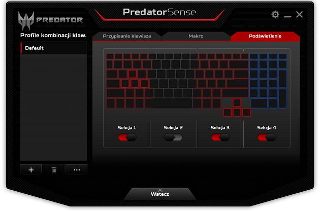 PredatorSense podświetlenie