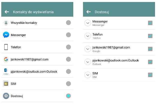 Facebook kontakty na Androidzie