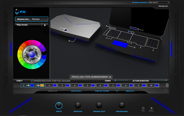 aplikacja podświetlenie klawiatury AlienFX