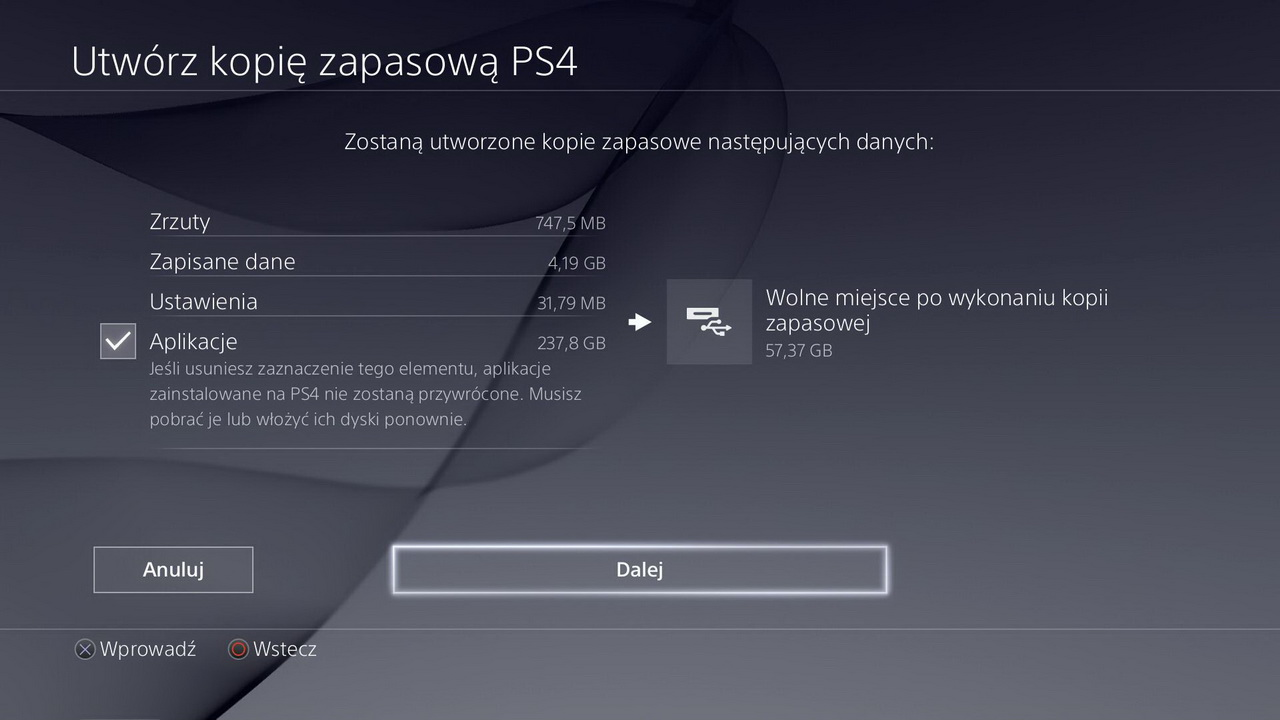 Tworzenie kopii zapasowej przed zmianą na Seagate Game Drive for PlayStation