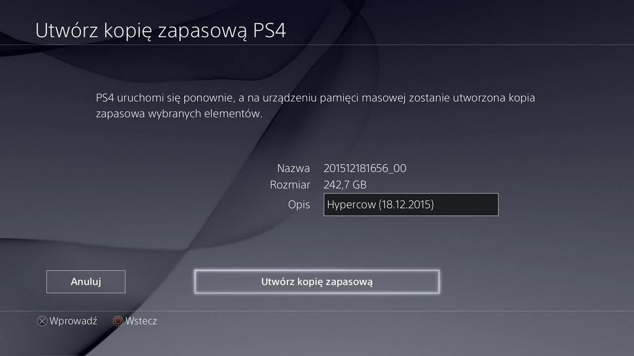 Kopia zapasowa przed przeniesieniem na Seagate Game Drive for PlayStation