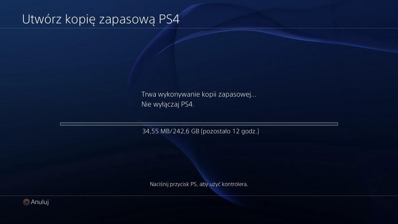 Seagate Game Drive for PlayStation -kopia zapasowa w toku