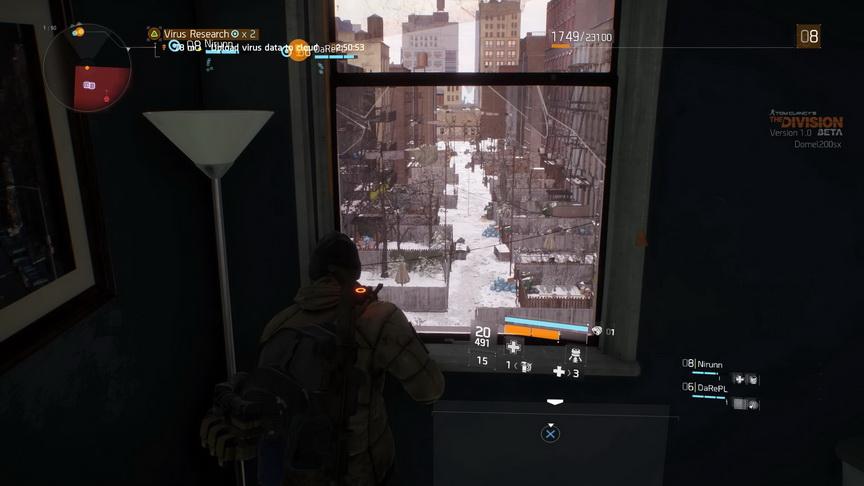 The Division beta - widok z okna na uliczkę