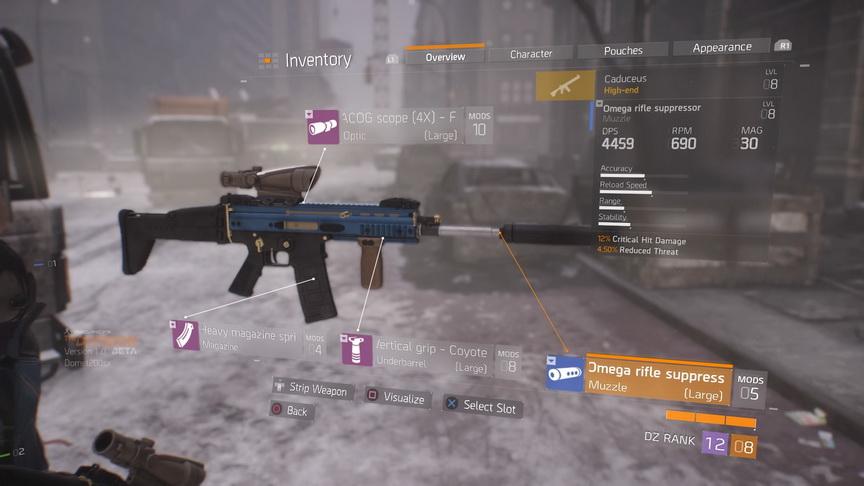 The Division beta - modyfikatory broni