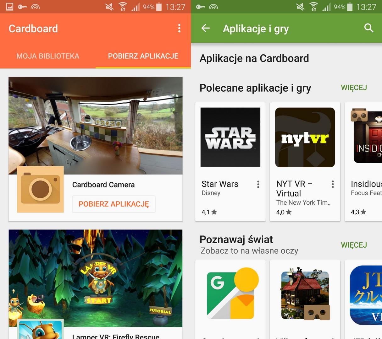 Obsługa Gogli Vr Oculus Vs Cardboard Cardboard Google