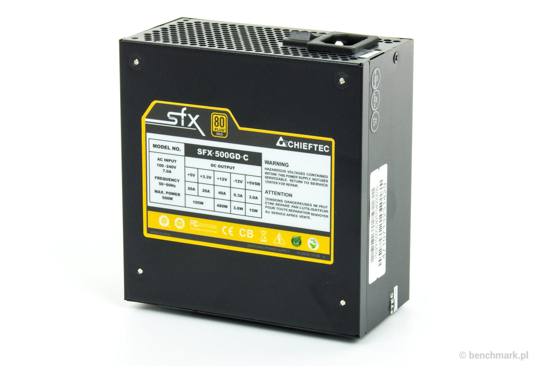 Chieftec SFX-500GD-C zasilacz  - tabliczka znamionowa