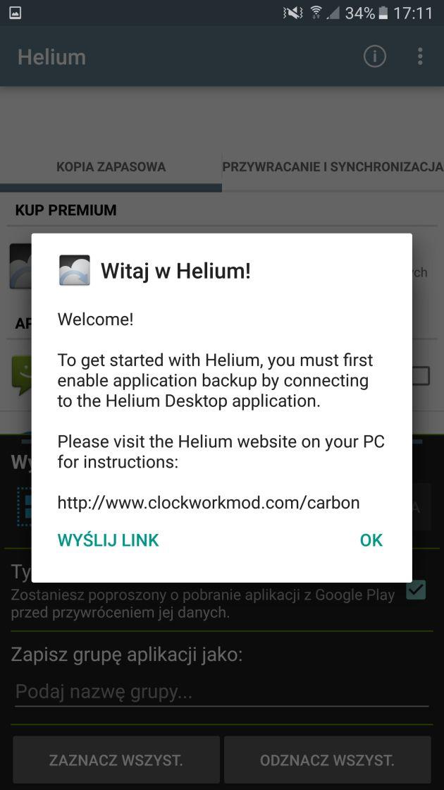 helium aktywacja na smartfonie