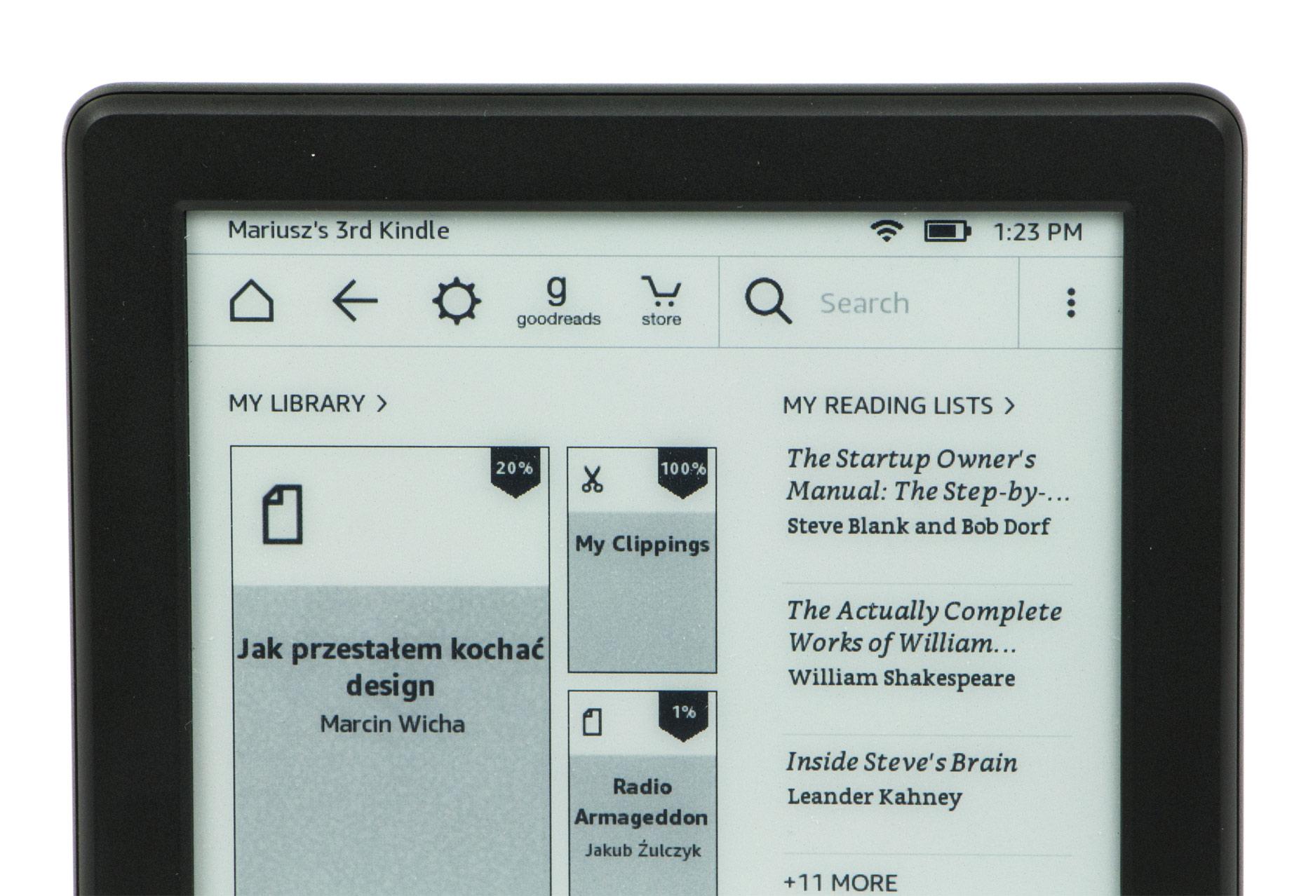 Kindle 8 pasek menu