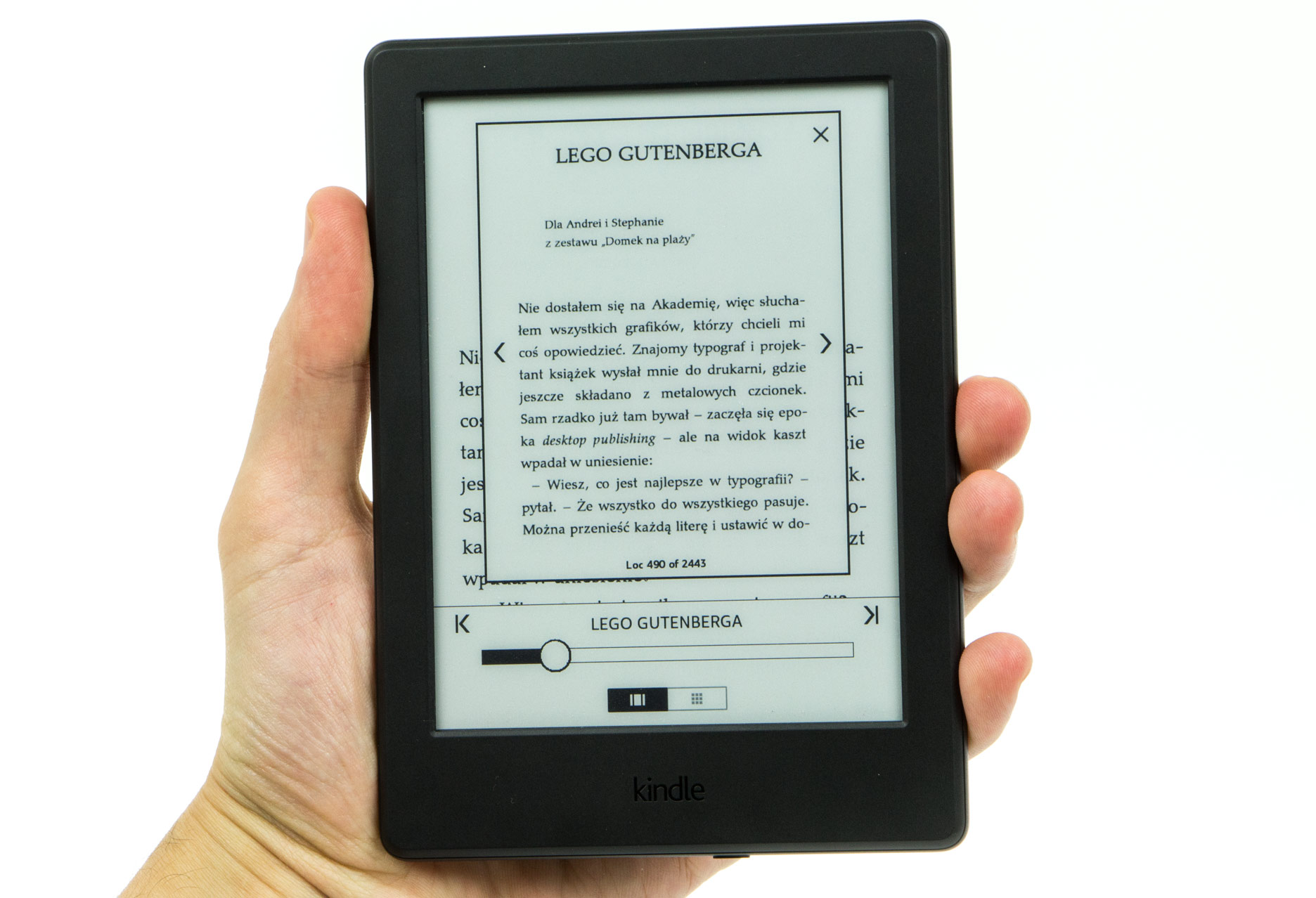 Kindle 8 zmiana stron