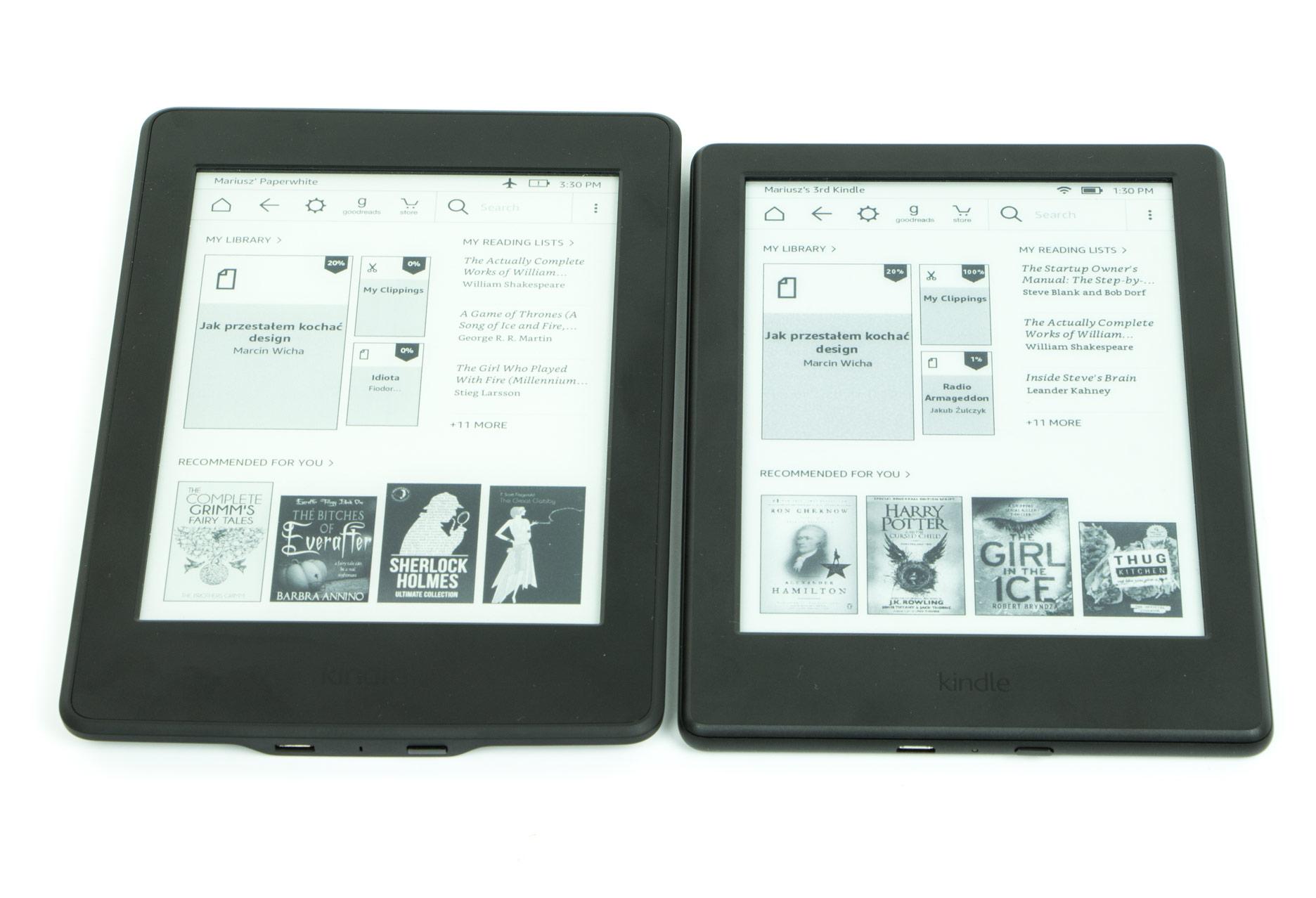 porównanie Kindle 8 obok Paperwhite 3 ekran główny