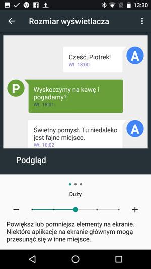 Android 7.0 Nougat - rozmiar interfejsu