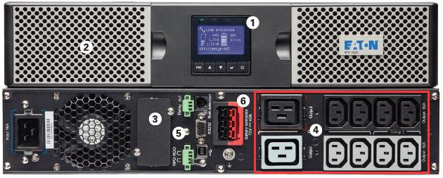 Przedni i tylny panel w Eaton 9PX 3000