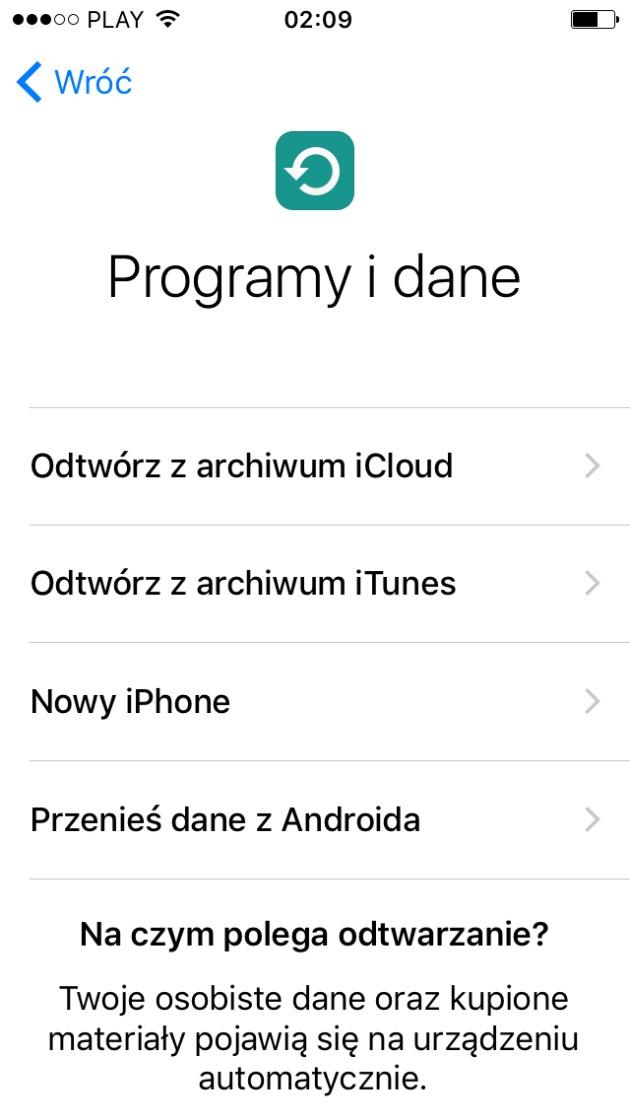 Programy i dane iphone