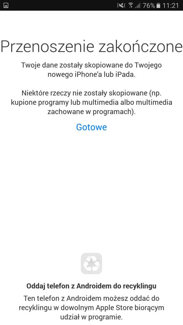 przenoszenie zakończone Android