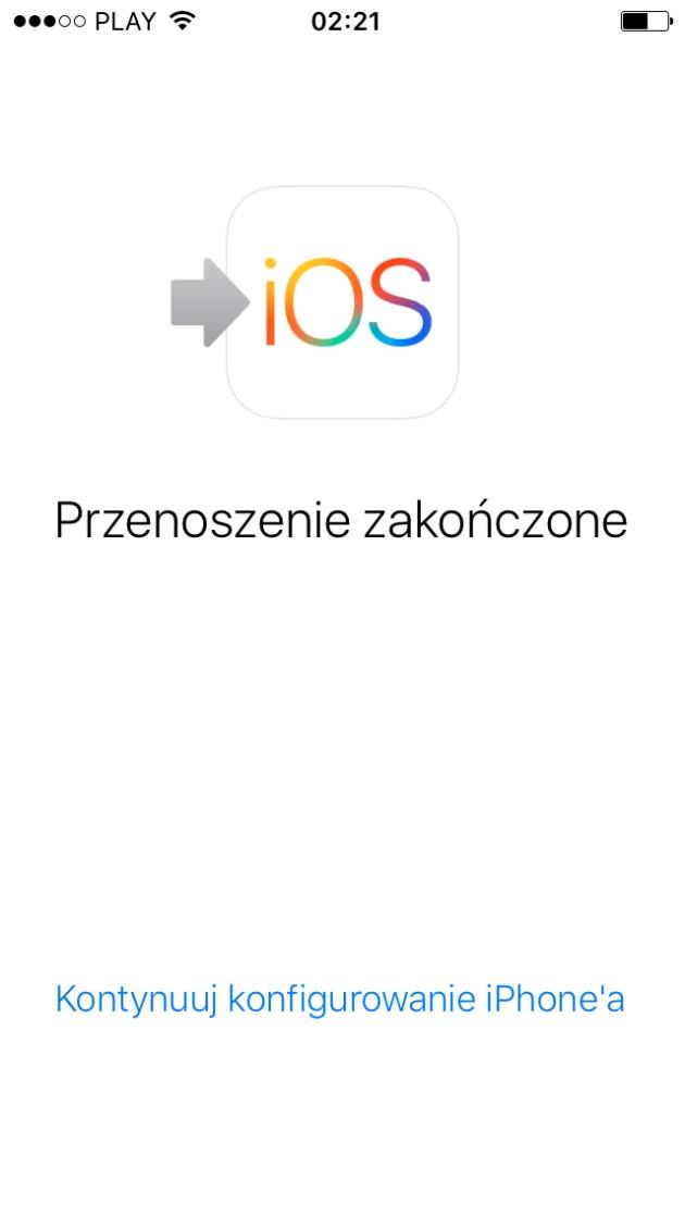 przenoszenie zakonczone iPhone