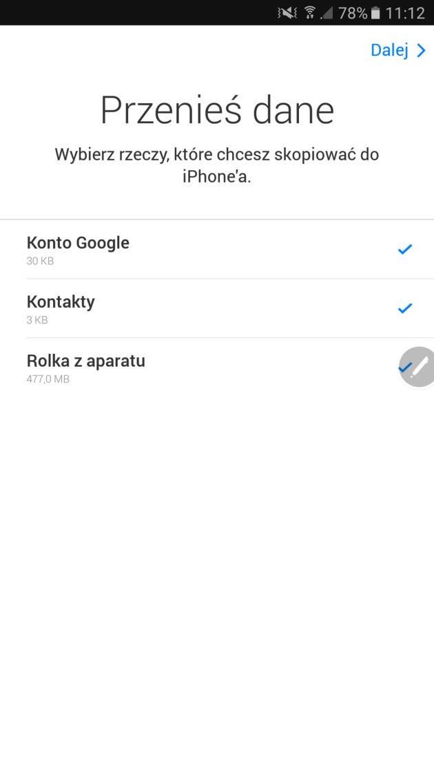 wybór danych Android