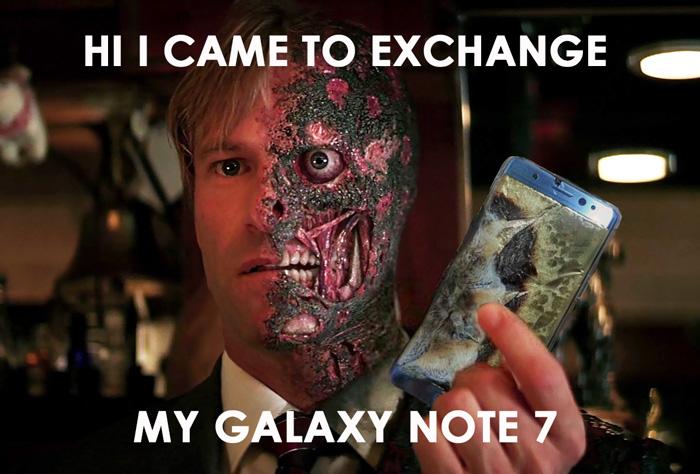 Galaxy Note 7 płonie - afera - meme