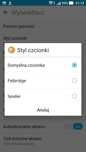 Asus Zenfone 3 wyświetlacz czcionka