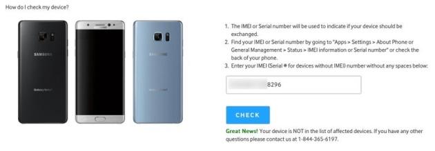 Galaxy Note 7 numer IMEI